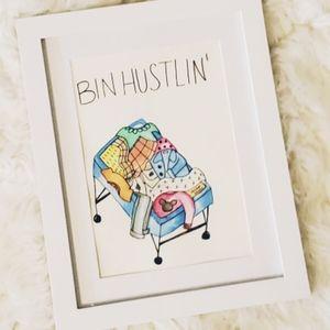 Bin Hustlin', hand painted, watercolor, original